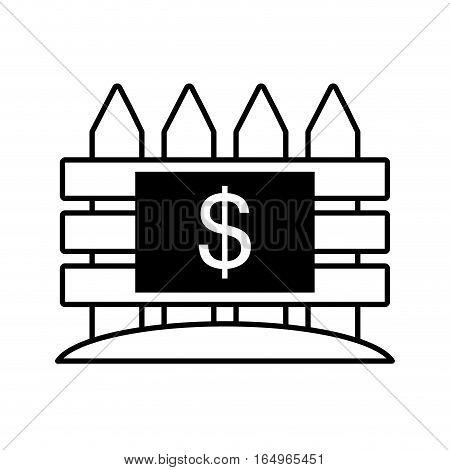 real estate fence price dollar outline vector illustration eps 10