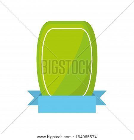 green shield empty blue ribbon vector illustration eps 10