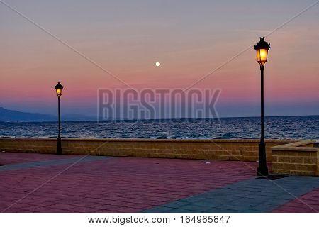 Manilva, Spain, January 11, 2017: Moon rise at Manilva in Spain.