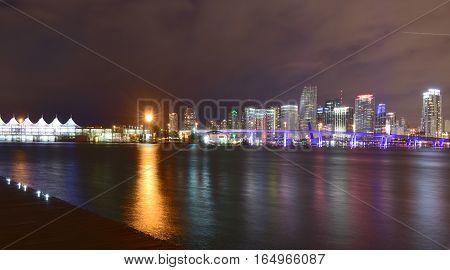 Miami, Florida - Usa - January 08, 2016: Downtown Miami Night Skyline