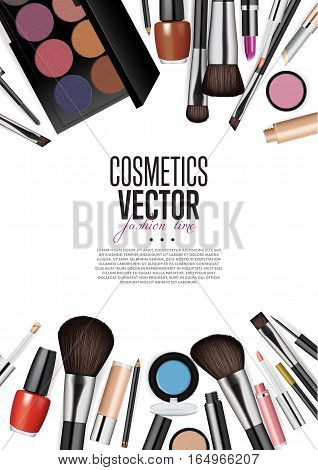 Cosmetics products, fashion makeup banner. Brushes, powder palettes, lipstick, eye pencil, nail polish realistic vector illustrations set on white background. Cosmetics product concept design
