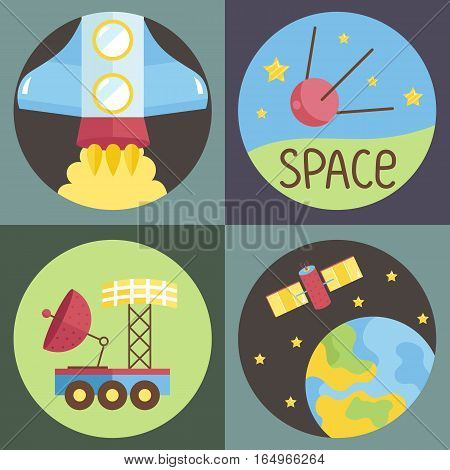 Space objects cartoon icons. Starting spaceship, satellite in space, exploration rover, Earth with science telescope on planet orbit vectors on green background.