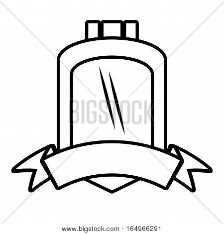shield protected insignia ribbon outline empty vector illustration eps 10