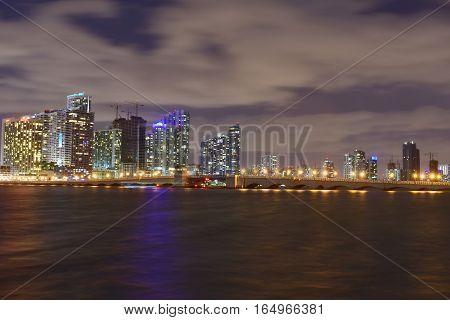 Miami, Florida - Usa - January 08, 2016: Miami City Night Skyline