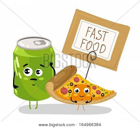 Cute pizza slice and soda can cartoon character isolated on white background vector illustration. Funny fast food menu emoticon face icon. Happy smile cartoon face food, comical pizza and drink mascot