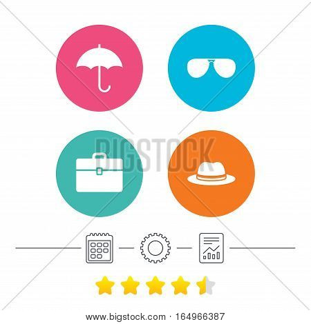 Clothing accessories icons. Umbrella and sunglasses signs. Headdress hat with business case symbols. Calendar, cogwheel and report linear icons. Star vote ranking. Vector