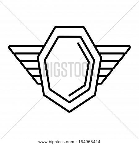 hexagon shield protection badge winged outline empty vector illustration eps 10