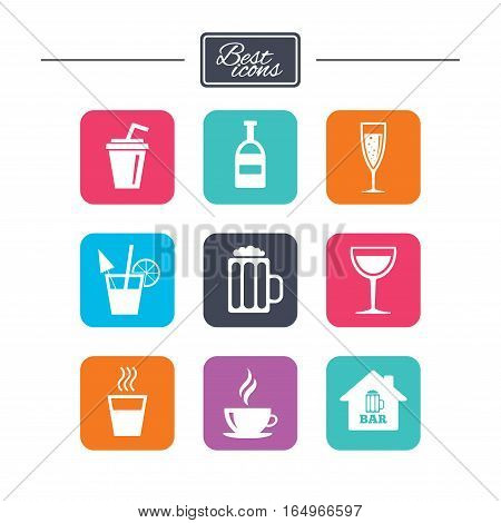Coffee, tea icons. Beer, wine and cocktail signs. Soft and alcohol drinks symbols. Colorful flat square buttons with icons. Vector