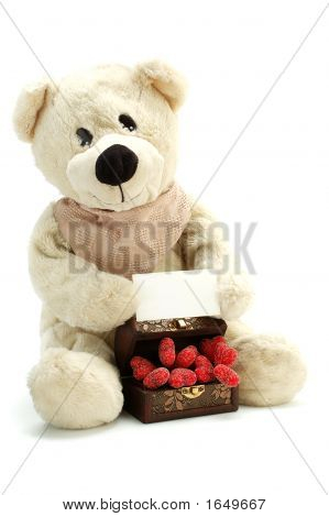 Teddy And Hearts With Your Message