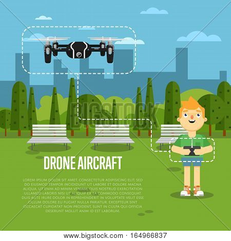 Drone aircraft banner with boy operating flying robot in park vector illustration. Remotely controlled multicopter. Unmanned aerial vehicle. Piloted copter drone. Modern flying device.