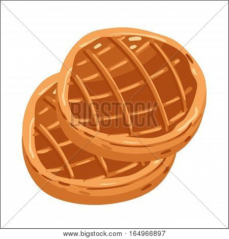Baked pie isolated on white background cartoon vector illustration. Bakery product, fresh pastry food icon. Sweet dessert, tasty pie pastry logo, natural bread food, bakery shop design element.
