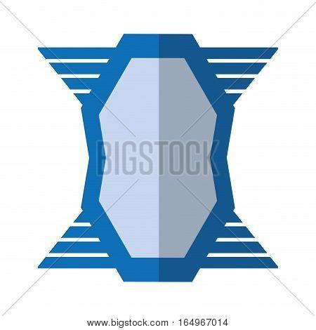 blue shield emblem winged shape geometric badge shadow vector illustration eps 10