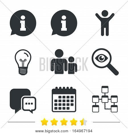 Information sign. Group of people and database symbols. Chat speech bubbles sign. Communication icons. Information, light bulb and calendar icons. Investigate magnifier. Vector