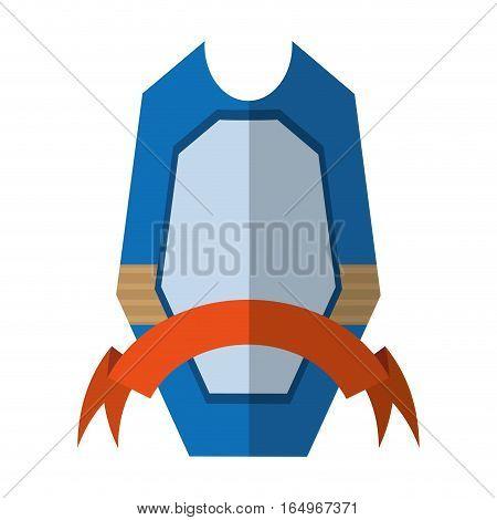 shield protection emblem blue frame ribbon shadow vector illustration eps 10