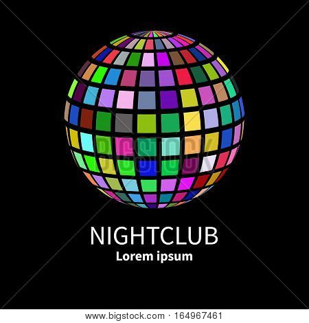 Colorful ball isolated on black background. Icon in shape of globe. Logo for nightclub. Vector illustration