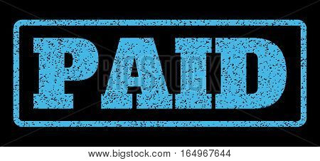 Light Blue rubber seal stamp with Paid text. Vector tag inside rounded rectangular frame. Grunge design and dirty texture for watermark labels. Horisontal emblem on a black background.
