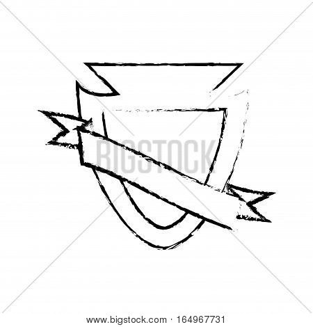 shield protected insignia sketch vector illustration eps 10