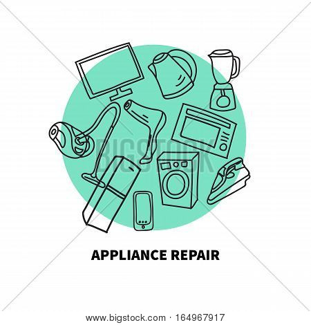Hand-drawn appliances - fridge Hairdryer TV blender iron washing machine refrigerator vacuum cleaner kettle. Vector doodles. Icons for repair shop