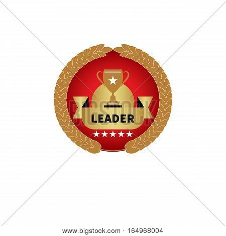 Red and gold award with cup, stars, wheat and ribbon. Logo, icon leader. Vector illustration