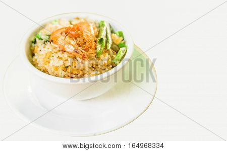 Seafood fried rice with shrimp and green peas