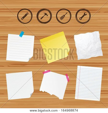Business paper banners with notes. Screwdriver and wrench key tool icons. Bubble level and hammer sign symbols. Sticky colorful tape. Vector