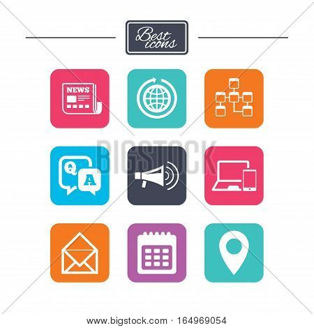 Communication icons. News, chat messages and calendar signs. E-mail, question and answer symbols. Colorful flat square buttons with icons. Vector