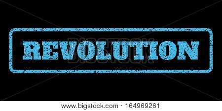 Light Blue rubber seal stamp with Revolution text. Vector message inside rounded rectangular banner. Grunge design and scratched texture for watermark labels. Horisontal sticker on a black background.