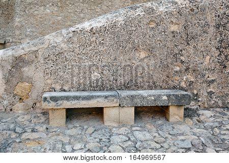Stone bench in Santa Barbara Castle, Spain