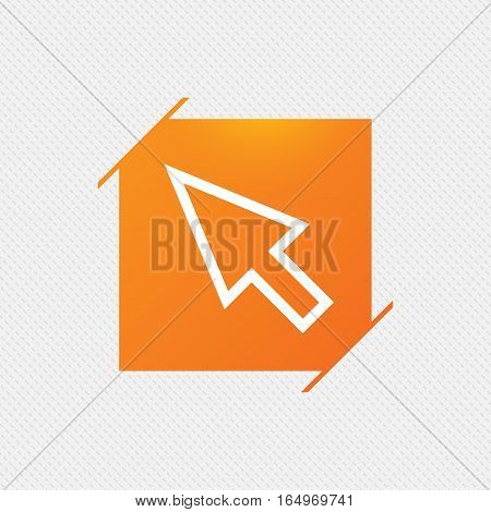 Mouse cursor sign icon. Pointer symbol. Orange square label on pattern. Vector