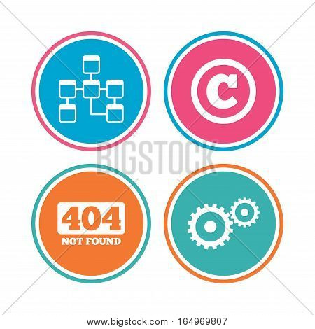 Website database icon. Copyrights and gear signs. 404 page not found symbol. Under construction. Colored circle buttons. Vector