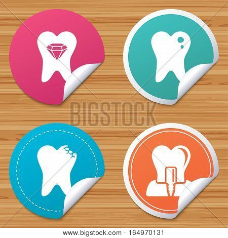 Round stickers or website banners. Dental care icons. Caries tooth sign. Tooth endosseous implant symbol. Tooth crystal jewellery. Circle badges with bended corner. Vector