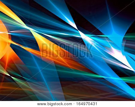 Color geometric abstract background - computer-generated image. Fractal art: bright colored lines, curls and shapes. Backdrop for business or technology design projects.
