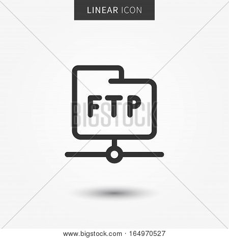 FTP folder icon vector illustration. Isolated ftp data symbol. FTP transfer protocol line concept. Web share graphic design. FTP folder outline symbol for app. FTP pictogram on grey background.
