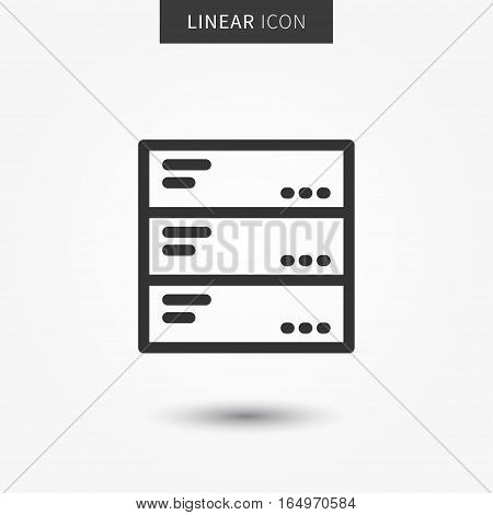 Data server icon vector illustration. Isolated data hosting symbol. Network server line concept. Hosting system graphic design. Database server outline symbol for app.