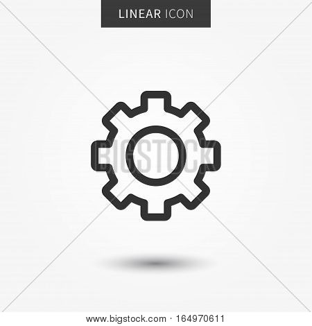 Settings icon vector illustration. Isolatedgear wheel symbol. Setting line concept. Configuration wheel graphic design. Cogwheel outline symbol for app. Settings pictogram on grey background.