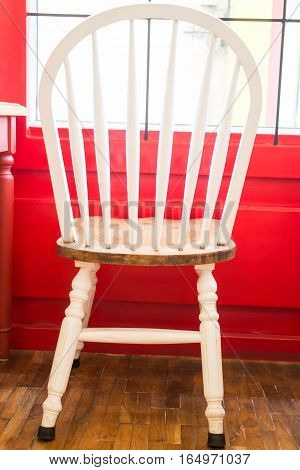 Single vintage white kitchen chair stock photo