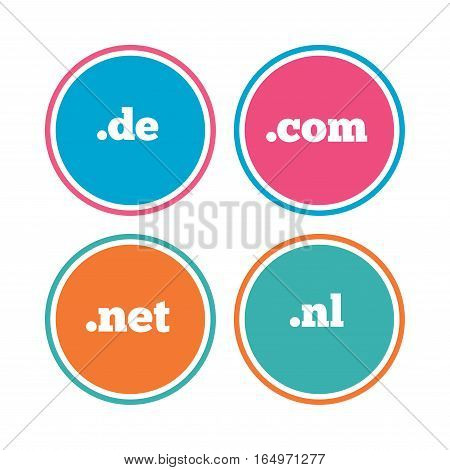 Top-level internet domain icons. De, Com, Net and Nl symbols. Unique national DNS names. Colored circle buttons. Vector
