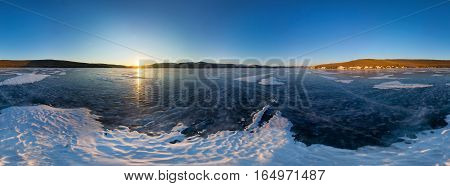 Spherical Panorama 360 Degree Sunrise On The Island Of Olkhon, Snowy Spot On The Ice Of Lake Baikal