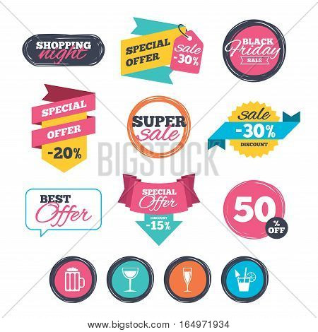 Sale stickers, online shopping. Alcoholic drinks icons. Champagne sparkling wine and beer symbols. Wine glass and cocktail signs. Website badges. Black friday. Vector