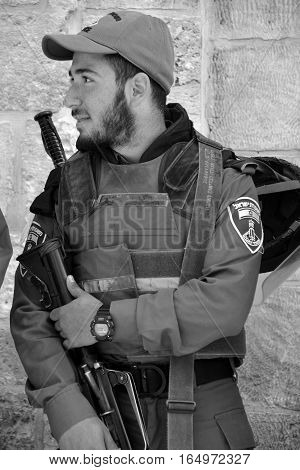 JERUSALEM ISRAEL 28 10 2105: Portrait of Israel Defense Forces downtowm Jerusalem, commonly known in Israel by the Hebrew acronym Tzahal are the military forces of the State of Israel