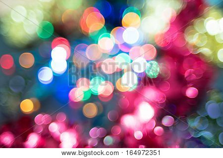 Abstract Christmas New Year background with bright and colorful bokeh