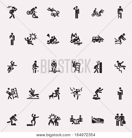 Design elements, icons, monochrome, incidents and accidents, vector