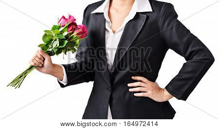 Business woman holding roses isoalted on white background Clipping path.