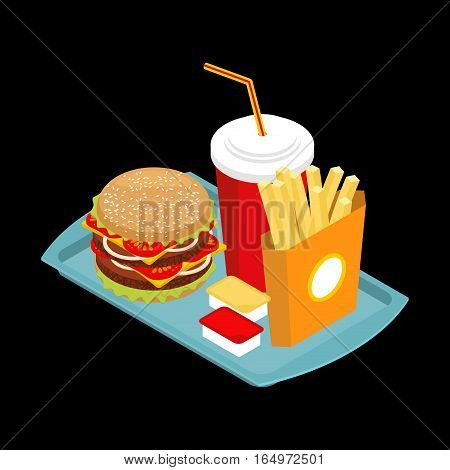 Fast Food On Tray. Hamburger And Drink. French Fries. Ketchup And Mustard. Harmful Meal For Each Day