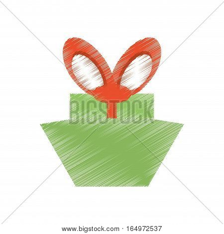 drawing green gift box red big bow vector illustration eps 10