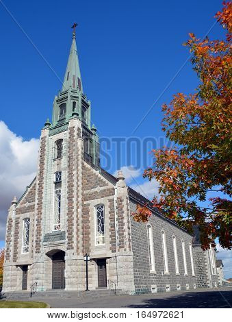 ROUGEMONT QUEBEC CANADA 10 19 16: Church of St. Michael (Saint-Michel) Rougemont is well known for its apple orchards and sugar shacks. It is also the location of Mont Rougemont and Rougemont Airport
