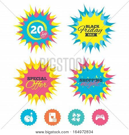 Shopping night, black friday stickers. Bowling and Casino icons. Video game joystick and playing card with puzzles pieces symbols. Entertainment signs. Special offer. Vector