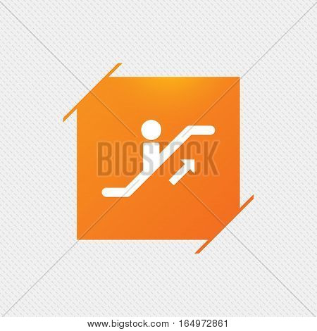 Escalator staircase icon. Elevator moving stairs up symbol. Orange square label on pattern. Vector