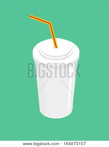 Drink With Straw Isolated. Beverage Fastfood On Green Background