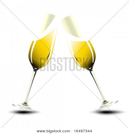 Pair of champagne glasses making a toast. Valentine & New Year Illustration